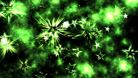 Abstract Star Shapes, Space - Loop Green Animation