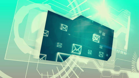 Digital interface with email graphics Animation