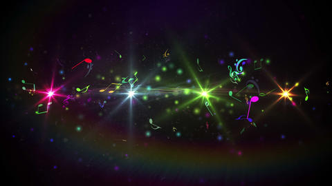 Colourful abstract music design on black Animation