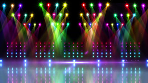 Stage under many colourful spotlights Animation