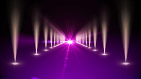 Purple digital walkway with spotlights Animation