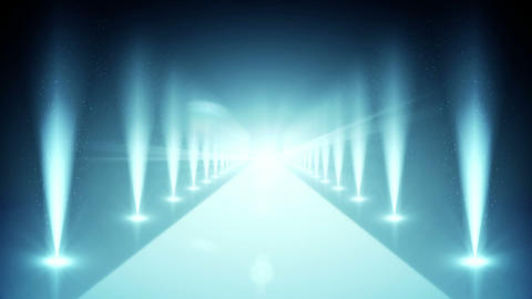 Digital blue walkway with spotlights Animation