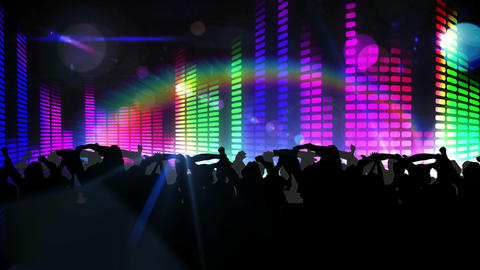 Nightclub with light show and dancing crowd Stock Video Footage