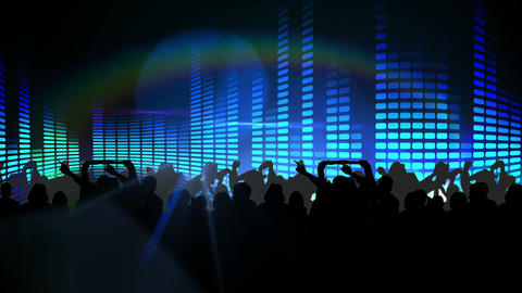 Nightclub with blue lights and dancing crowd, Stock Animation