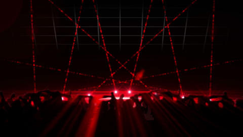 Nightclub with red laser show and dancing crowd, Stock Animation