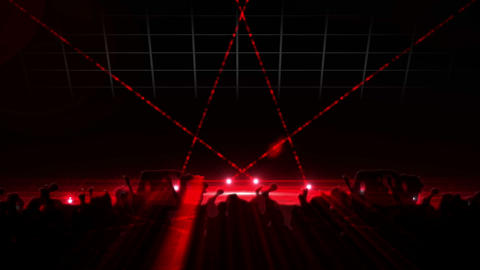 Nightclub with red laser show and dancing crowd Animation