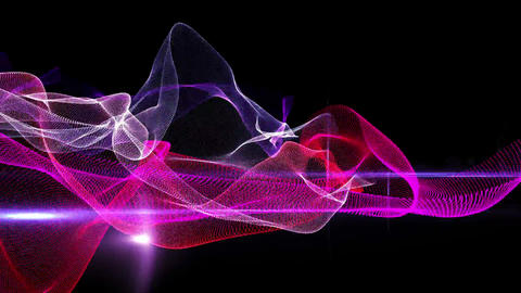 Purple abstract waves on black background Animation