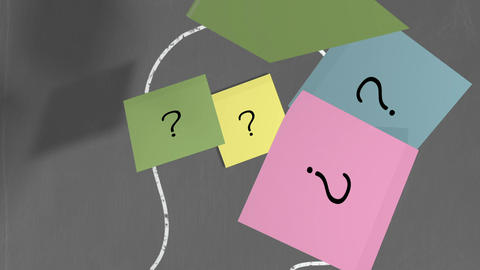Question mark post its in chalk drawn head outline Animation