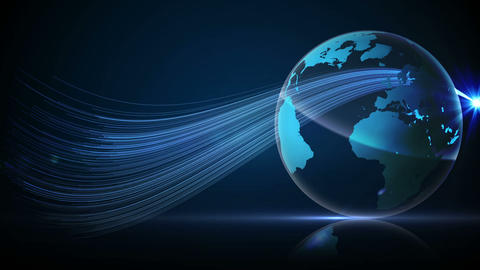 Blue earth spinning with glow and spark Animation