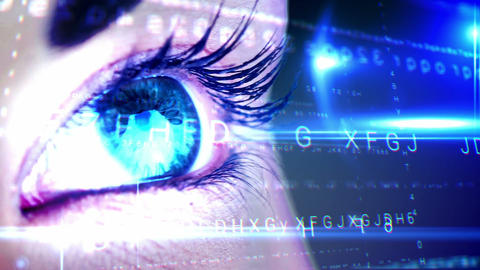 Eye looking at futuristic interface showing letters Animation