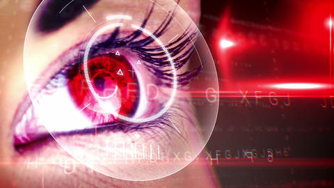 Eyes looking at holographic interface Animation