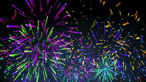 Colourful fireworks exploding on black background Animation