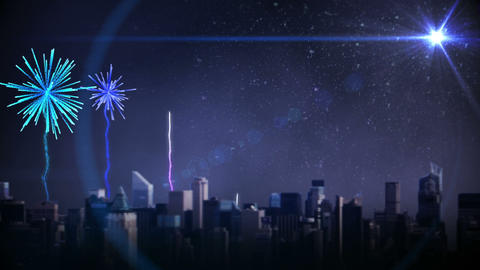 Colourful fireworks exploding over city Animation