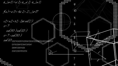 Math equations and shapes on black background Animation
