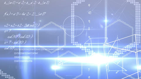 Math equations and shapes on blue background Animation
