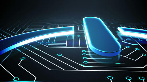 Power sign on circuit board design Animation