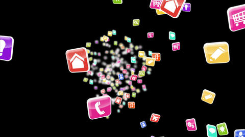 Colourful app icon tiles on black background Animation