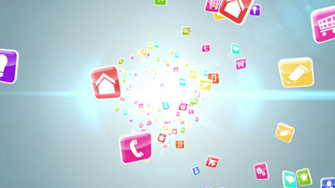 Colourful app icon tiles on light background Animation