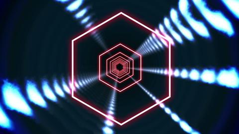 Hexagon blue vortex design on black Animation