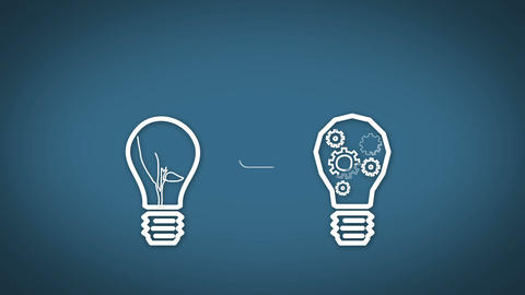 Light bulb graphics appearing on blue background Animation
