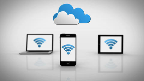 Media devices showing wifi symbol under clouds Animation