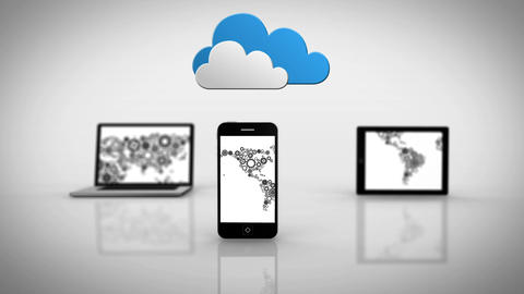 Media devices showing cog map under clouds Animation