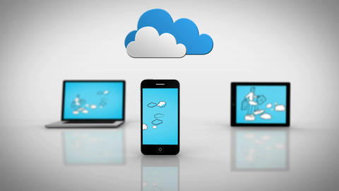 Media devices showing businessman progressing under clouds Animation