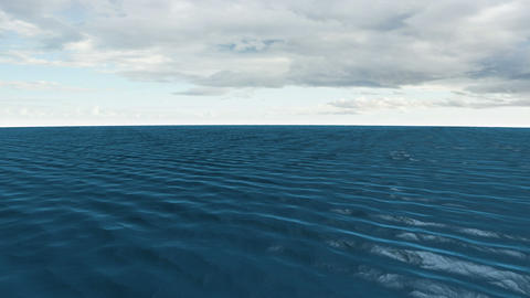 Still blue ocean under cloudy sky Animation