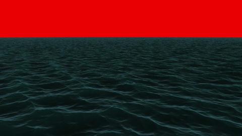 Still blue ocean under red screen sky Animation