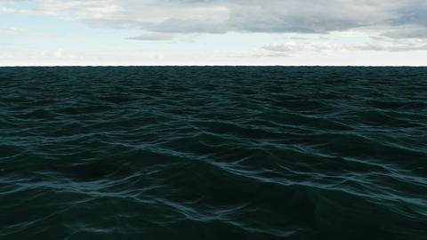 Choppy blue ocean under cloudy sky Animation