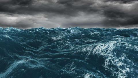 Stormy blue ocean under dark sky Stock Video Footage