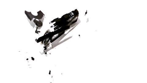 Video Tape Falling And Breaking On White Backgroun stock footage