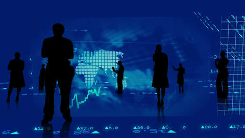 Silhouettes of business people against stock market graphics Animation