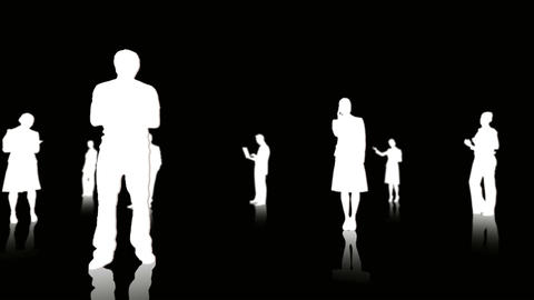 White silhouettes of business people Animation