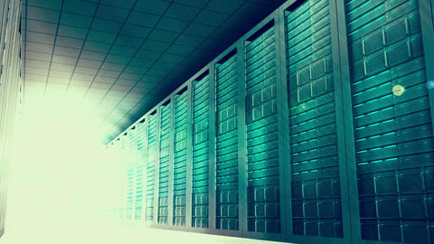 Glowing light moving through server room Animation