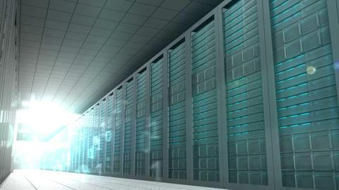 Binary code in server room Animation
