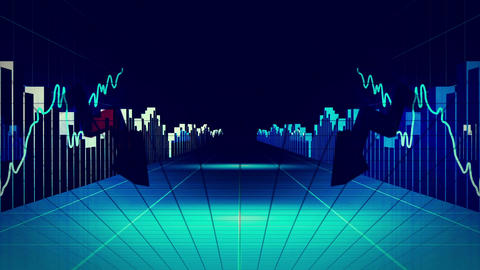 Blue finance and business concept Animation
