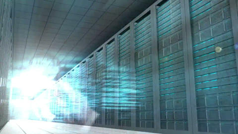 Technology montage in server room Animation