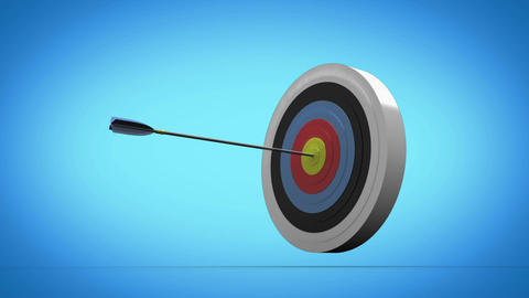 Arrow flying towards dart board and hitting target Stock Video Footage