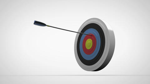 Arrows flying towards dart board and hitting target Stock Video Footage