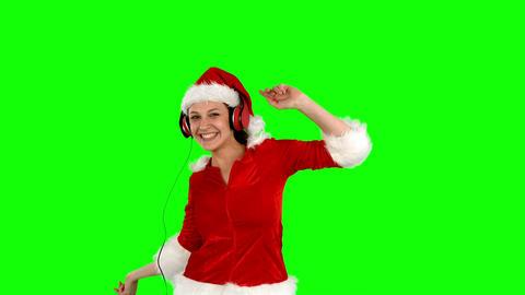 Festive Brunette Listening To Music stock footage