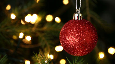 Focus on red bauble christmas decoration Footage