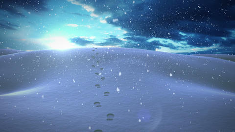 Snow falling in a calm snowy landscape at night Animation