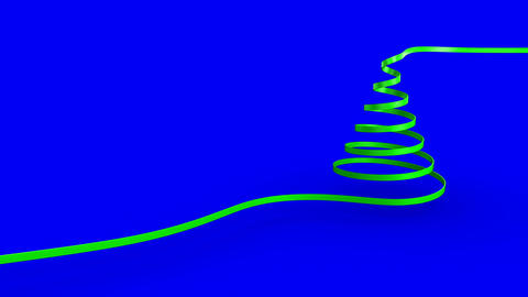 Christmas tree ribbon forming against copy space background Animation