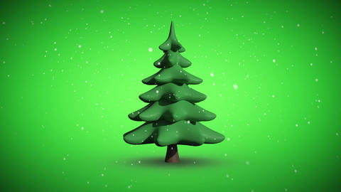 Snow falling on revolving fir tree Animation
