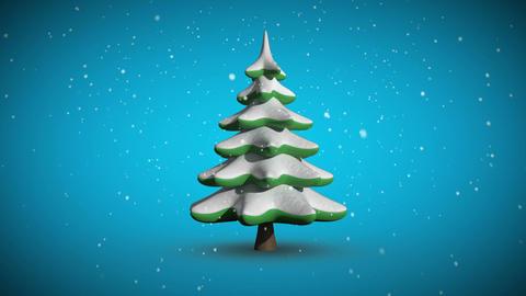 Snow falling on revolving fir tree Animation