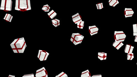 Red and white presents falling on black Animation