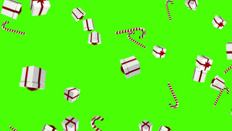 Red and white presents falling on green Animation