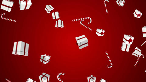 Red And White Presents Falling On Red stock footage