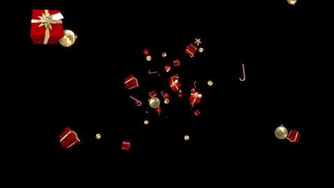 Christmas presents moving on black background Animation